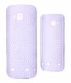 Nokia C5 Nokta Desenli Rubber Sert Plastik Kılıf Beyaz