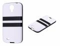 Ally Galaxy S4 İ9500 Arka Tarafi Deri Siyah Beyaz Silikon Kılıf