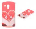 Galaxy S Duos Gt S7562 Kalp Ve Tavşan Desenli Plastik Kılıf