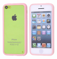 APPLE İPHONE 5C TRANSPARAN BUMPER KILIF PEMBE