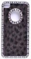 İphone 4 -4s Kahverengi-siyah Leopar Desenli Tüylü Metal Kılıf