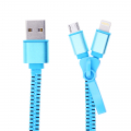Ally 2in1 İPhone Ve Micro Usb Zipper Usb Şarj Kablosu