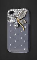 İphone 4 - 4s Swarovski Taşlı Çiçek İşlemeli Kılıf