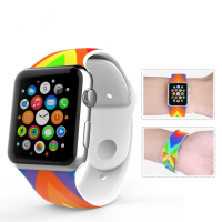 Ally Apple Watch İçin 38mm Silikon Kordon Kayış Gökkuşağı