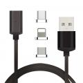 İPHONE TYPE-C, ANDROİD 3  BAŞLIK MANYETİK ŞARJ USB KABLOSU