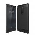 Nokia 5 Dark Ultra Koruma Karbon Fiber Doku Silikon Kılıf