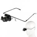 Led Işıklı Gözlük Şeklinde 20x Zoom Büyüteç