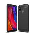 Xiaomi Mi 8  Dark Ultra Koruma Karbon Fiber Doku Silikon Kılıf