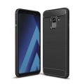 Galaxy A8+ Plus 2018 Dark Ultra Koruma Karbon Fiber Doku Silikon Kılıf