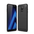Ally Samsung Galaxy A6+ Plus İçin Dark Ultra Koruma Karbon Fiber Doku Silikon Kılıf