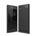 Sony Xperia Xa1+ Plus Dark Ultra Koruma Karbon Fiber Doku Silikon Kılıf