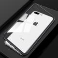 İphone 7 Plus,İphone 8 Plus,Mıknatıslı 360 Koruma Arkası Cam Metal Frame Kılıf