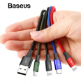 BASEUS 4İN1 İPHONE LİGHTNİNG 2 USB TYPE-C MİCRO HIZLI ŞARJ USB KABLO