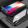 İPhone  XS Max Mıknatıslı 360 Koruma Arkası Cam Metal Frame Kılıf