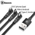 Baseus Mvp 3in1, Type C İphone Ve Micro Usb Oyuncu Şarj Kablosu