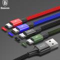 Baseus 4in1 Micro Usb Başlık 2 İphone 1 Usb Type-C 1hızlı Şarj Usb Kablo
