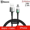 Baseus Zinc Magnetic Usb Kablo Şarj İPhone 7-8-XS-XR Başlık 2.4A 1Metre