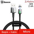Baseus Zinc Magnetic Usb Kablo Şarj Android Micro 2.4A 1Metre