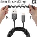 Spiral İPhone11,11Pro XS,XR 7-8 3.0A Hızlı Şarj Halat Usb Kablo 1.8MM