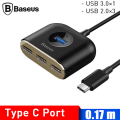 Baseus Square round 4 in 1 USB HUB Adaptör(Type-C TO USB3.0*1+USB2.0*3) 0.17m