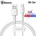 Baseus Mini White Micro USB 4A OPPO VIVO Dash Usb Şarj Kablosu 0.5cm