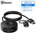 BASEUS Round Box 4in1 (Type-C+ USB3.0*1+USB2.0*3) HUB Adaptör 1 metre