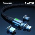 Baseus Zinc Magnetic Usb Şarj Kablosu 3 Başlık(iPhone+Type-C+Micro)2m
