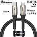 Baseus Horizontal USB Type-C PD18W iPhone 12-11 PRO,XR XS MAX  Hızlı Şarj Kablo 1Metre