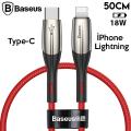 Baseus Horizontal Type-C to iPhone 11 Pro XR Xs Max PD 18W Hızlı Şarj Kablo 0.5cm