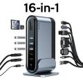 Baseus Working Station16in1 Çok Fonksiyonlu Type-C HUB Adaptör HDMI USB 3.0 RJ45