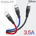 KUULAA 3in1 Type-C+İPhone+Micro 30CM Kısa Usb Şarj Kablsu