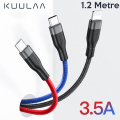 KUULAA 3in1 Type-C+İPhone+Micro Kısa Usb Şarj Kablsu 1.2metre