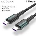KUULAA Type C Type-C PD 60W QC4.0 Hızlı Şarj ve Data Kablosu 1Metre