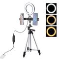PULUZ Tripod 16cm Çift Telefon tutucu 6.2CM Led Işık Stand Youtuber,Canlı Yayın Selfie TikTok Makeup