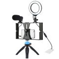 PULUZ 4 in1 Vlog için Telefon tutucu 4.7 inch Ring LED Mikrofon 12cm Stand Set