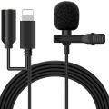ALLY iPhone Lightning Yaka Mikrofonu+3.5MM jack Profesyonel Youtuber Mikrofonu