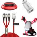 Baseus Araç Hediye Set- Araç Şarj+Tutuc+Çoklu Kablo Araç Kokusu
