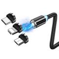 ALLY 2M Magnetic-Mıknatıslı Usb Şarj Kablosu 3 Başlık(iPhone+Type-C+Micro