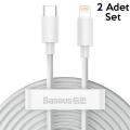Baseus PD 20W İPhone 12,11,XS,XR USB-C to Lightning Şarj Kablosu 2 Adet Set 1.5m