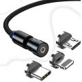 ALLY 540 Dönebilen Mıknatıslı Usb Şarj Kablosu 3 Başlık(iPhone+Type-C+Micro 1 metre