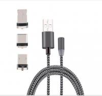 İPHONE TYPE-C, ANDROİD 3  YUVARLAK BAŞLIK MANYETİK ŞARJ USB KABLOSU
