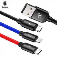 BASEUS 3İN1 TYPE-C İPHONE, VE MİCRO USB ÇOKLU BAŞALIK HALAT USB KABLO