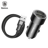 BASEUS SMALL SCREW 3.4A ÇİFT USB HIZLI ARAÇ ŞARJ TYPE C KABLO SET