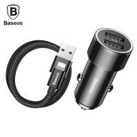 BASEUS SMALL SCREW 3.4A ÇİFT USB HIZLI ARAÇ ŞARJ İPHONE KABLO SET