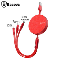 BASEUS FABRİC MAKARALI 3İN1 TYPE-C+İPHONE+MİCRO USB ŞARJ KABLO