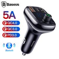 Baseus T typed S-13 Bluetooth FM Transmitter 36W QC 4.0 Dual USB & Type-C Araç Şarj Cihazı