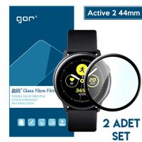 GOR Galaxy Watch Active 2 44mm 3D kavisli Nano Glass Ekran Koruyucu 2 Adet Set