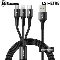 Baseus halo data 3in1 1.2m3 Başlık Usb Kablo Micro-Type-C İPhone