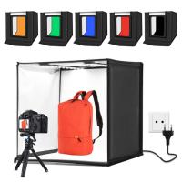PULUZ Profesyonel 60 X 60CM LED Işıklı Ürün Fotoğraf Çekim Çadırı Katlanabilir Portatif LED 5500K  6