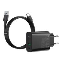 Baseus USB Typ C 30W VOOC Destekli Hızlı Şarj Adaptöru+1M 5A U-C Flash Kablo